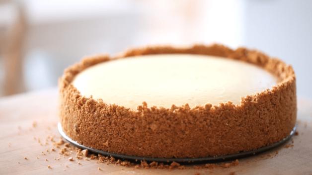 Raspberry Cheesecake Recipe on cutting board