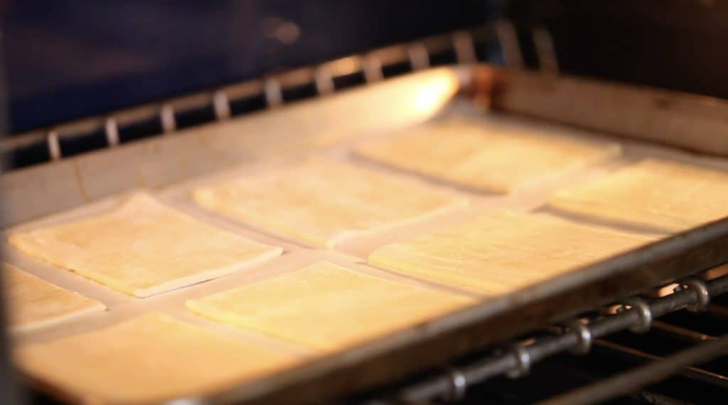 Puff Pastry Rectangles baking for a Cannoli Napoleon