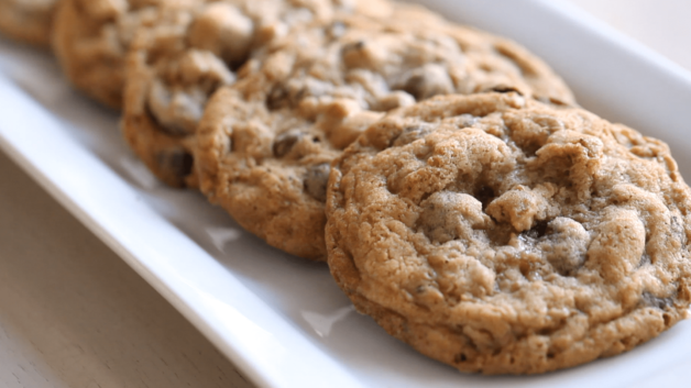 Ultimate Chocolate Chip Cookie Recipe on a white platter