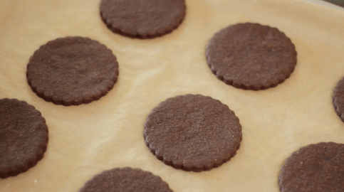 Chocolate cookies freshly baked on a parchment lined cookie sheet