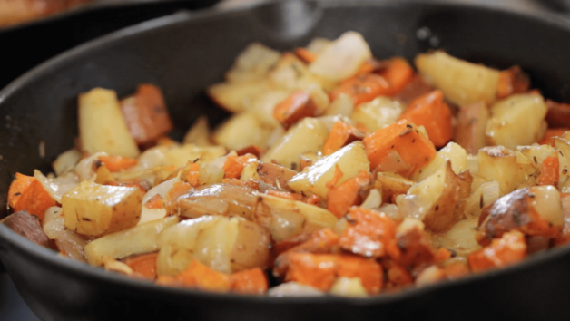 Caramelized Root Vegetable in a Skillet