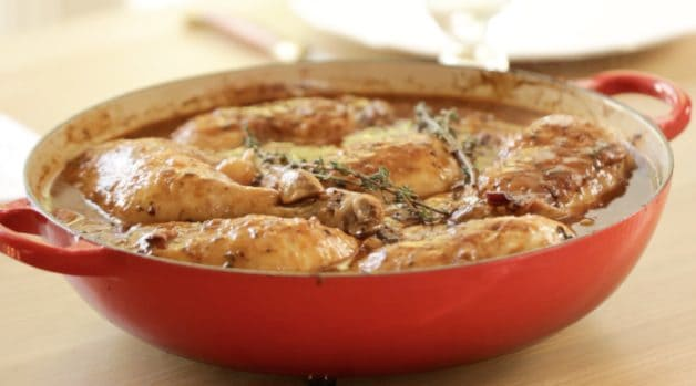 A Coq Au Vin Recipe in a Le Creuset Red Braiser