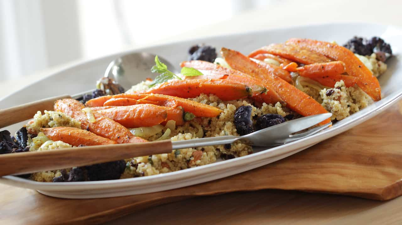 Quinoa recipe and roasted vegetables