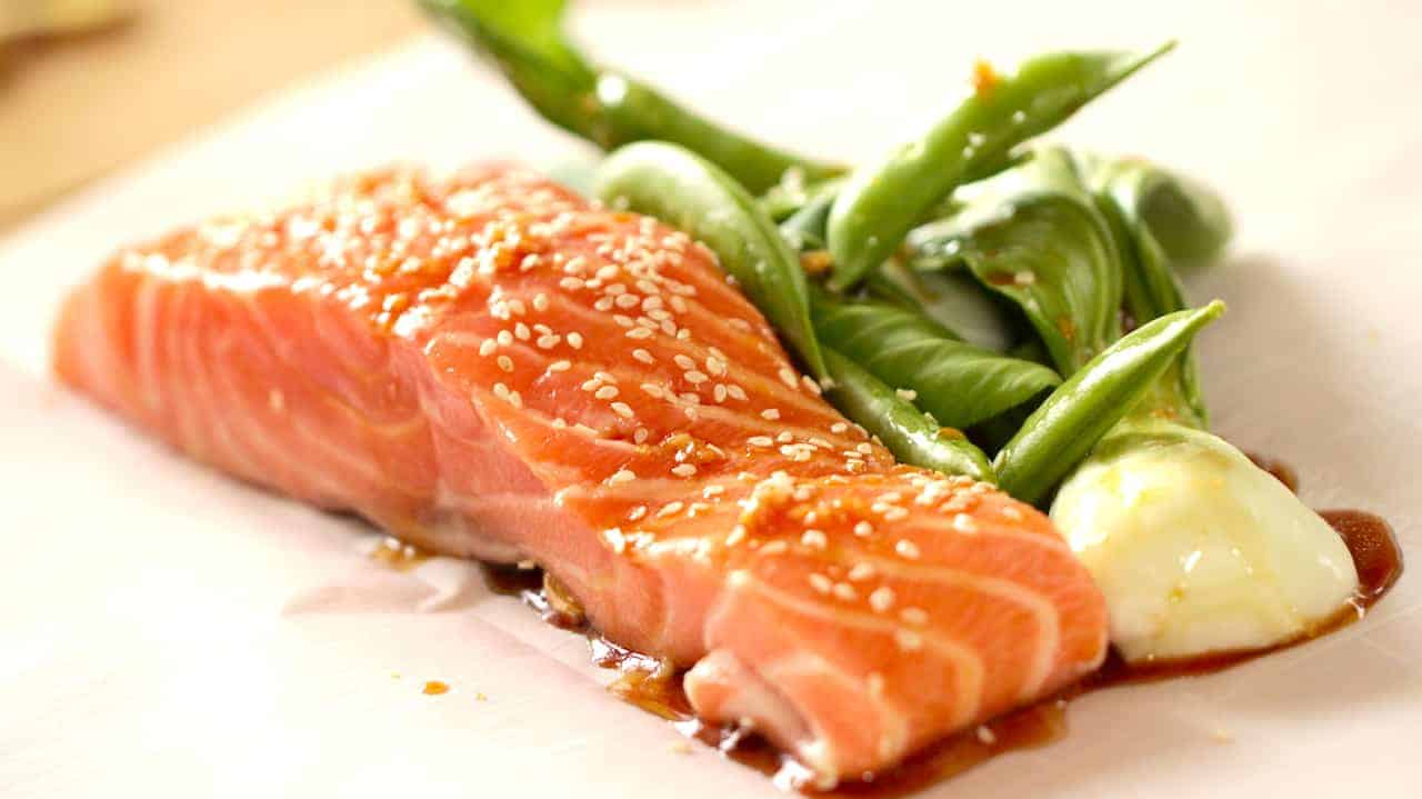 Salmon with Soy Sauce and boy choy on parchment paper
