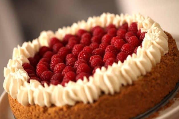 Raspberry Cheesecake recipe on a platter