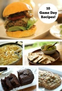 Collage of various recipes for Game Day