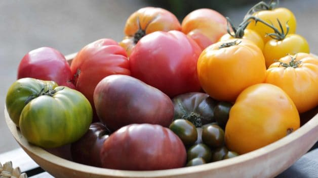 homegrown tomatoes in a wooden bowl