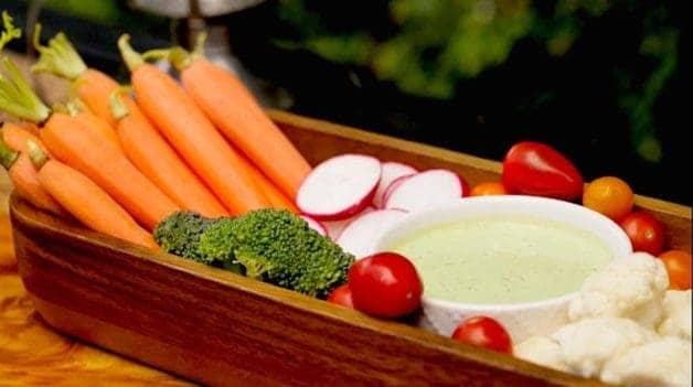 Vegetable platter with green goddess dressing