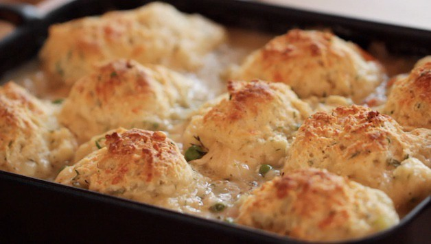 close up of chicken and biscuit casserole