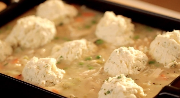 Chicken casserole with Biscuit Dough on Top