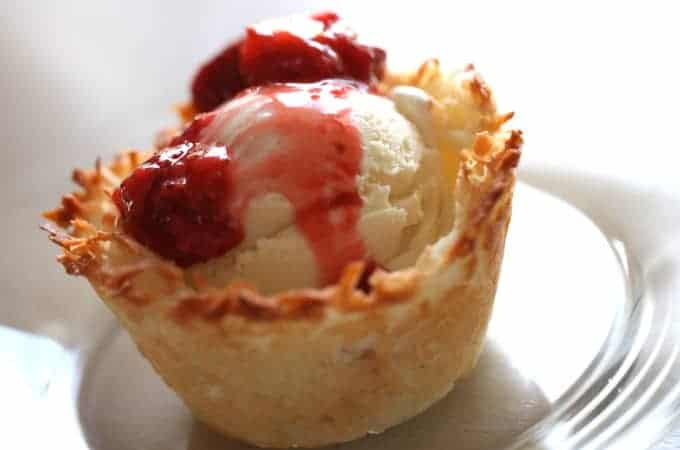 Coconut Ice Cream Baskets with Strawberry Sauce