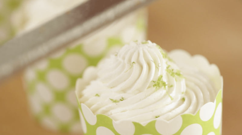 Key Lime Cups with lime zest on top up close