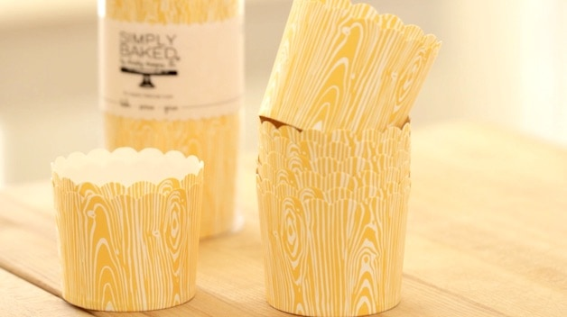 Simply Baked Cupcake papers in yellow wood design
