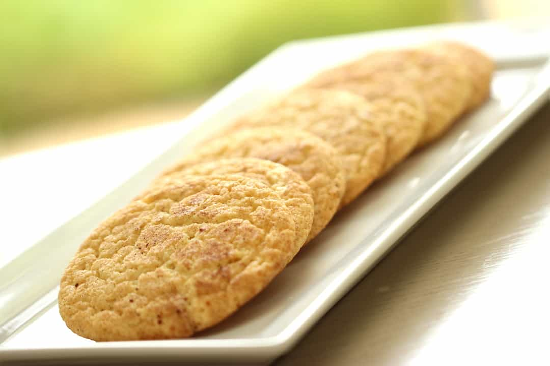 Snickerdoodle Cookies on a long white platter