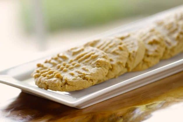 the best peanut butter cookie recipe served on a white tray