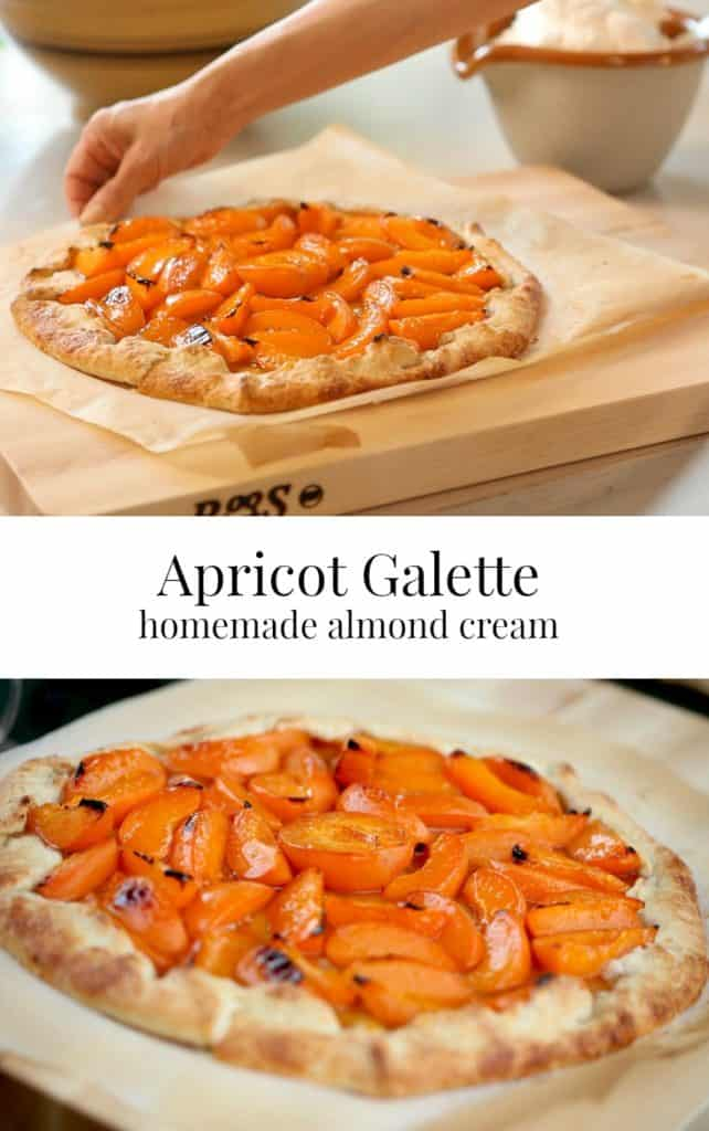Apricot Galette on cutting board with whipped cream and apricot galette baked on parchment paper