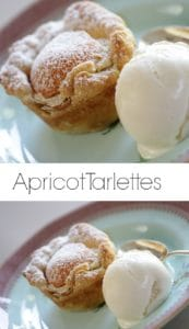 Apricot Almond Tarlettes on plate with vanilla ice cream scoop