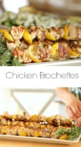 Chicken Brochettes with Zucchini Salad on a white platter