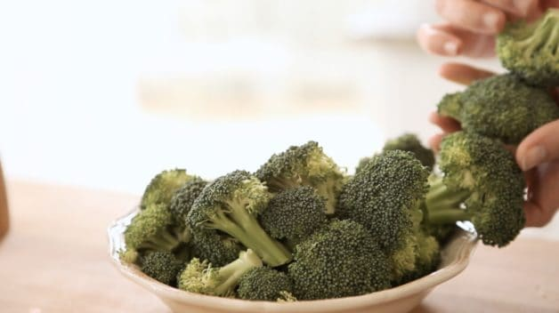 Broccoli florets prepped for an Easy Shrimp Stir Fry Recipe