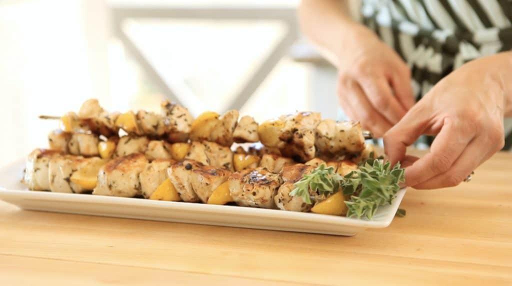 Platter of Chicken Brochettes with Zucchini Salad