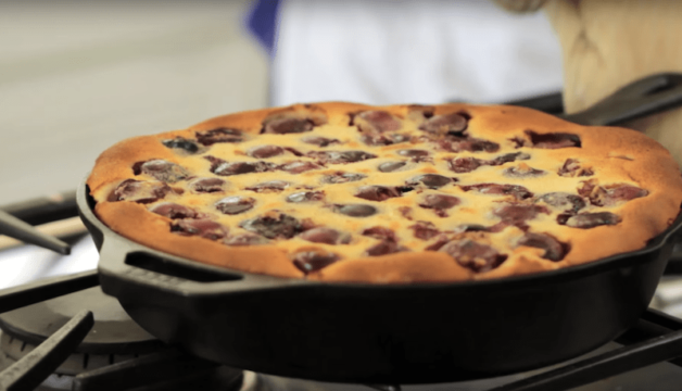 just baked The Best Cherry Clafoutis Recipe in a cast iron skillet