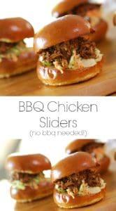 BBQ Chicken Slider Recipe on a wood surface