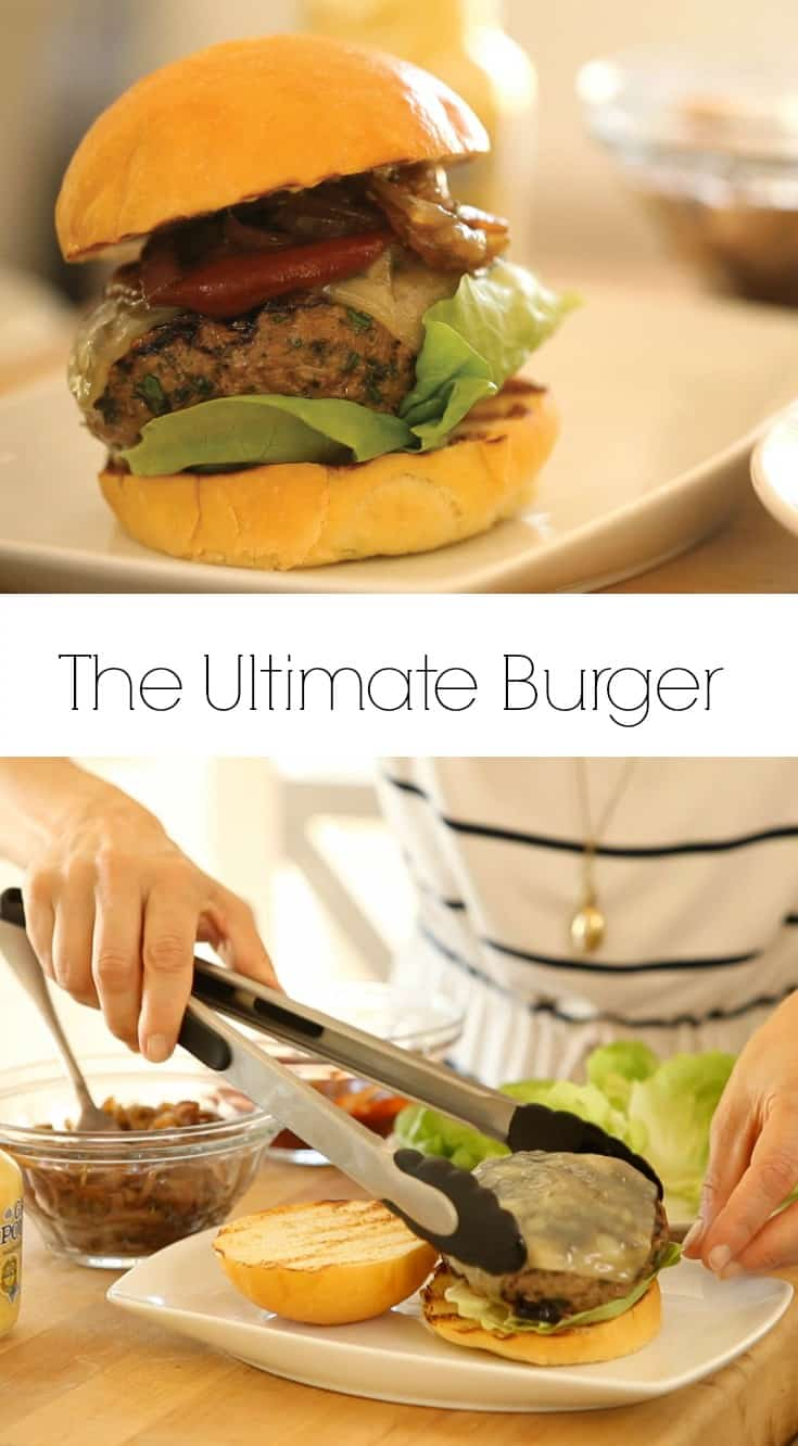 an ultimate burger recipe being served on a white plate and below a picture of a beef patty with Swiss cheese melted on placed with tongs on a brioche bun