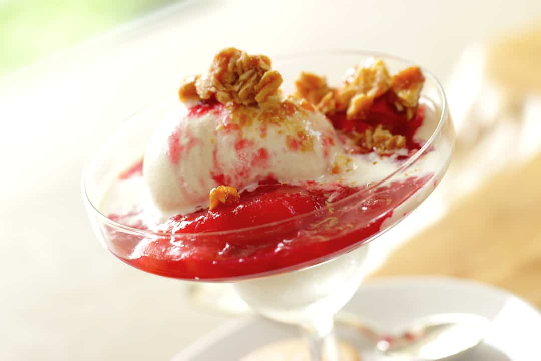 Pluot Sundaes with Almond Brittle