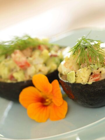 Avocado Shells filled with Avocado Shrimp Salad and topped with fresh dill