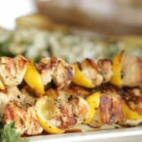Grilled Chicken Brochettes with Zucchini Salad