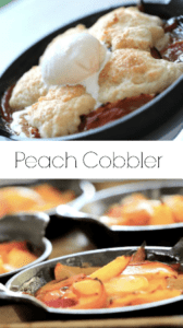 Peach Cobbler Recipe in cast-iron dishes topped with ice cream