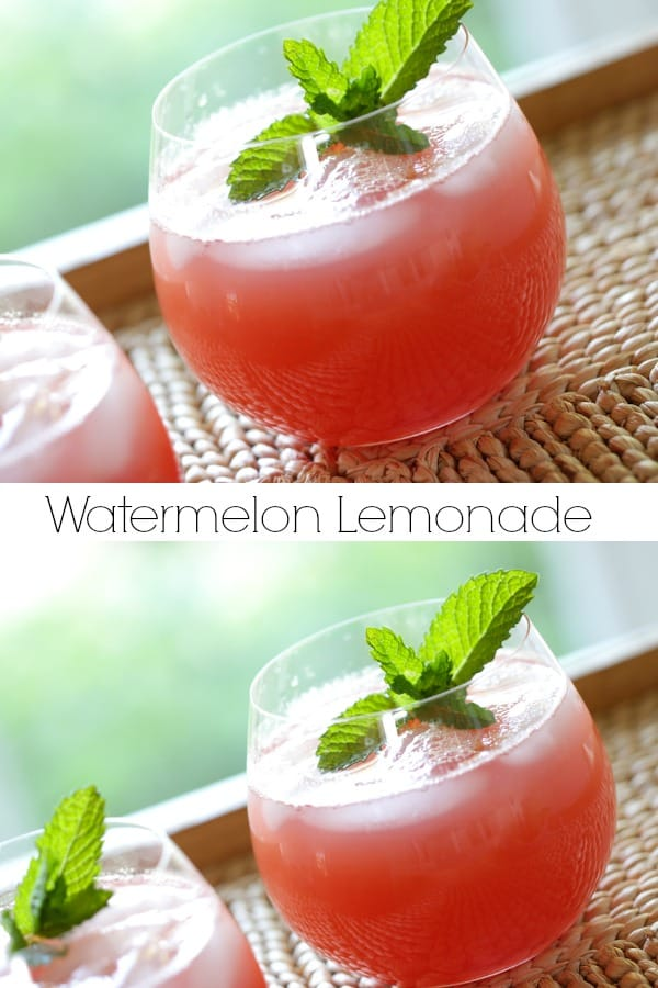 Watermelon Lemonade in Clear Glasses