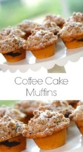Easy Coffee Cake Muffin Recipe served on a white cake stand
