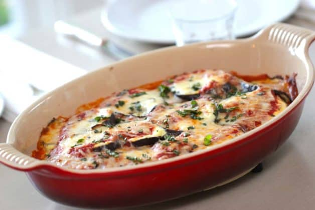 Eggplant Lasagna Recipe in a Red Gratin Pan