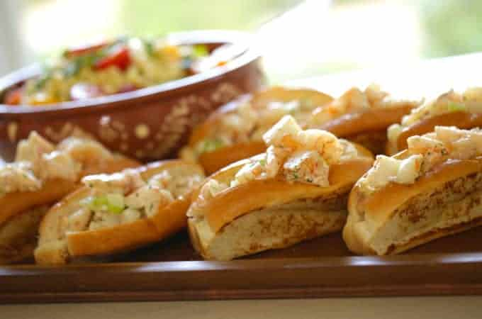 Shrimp Rolls Recipe served on a wood board
