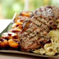 Rosemary Pork Chops with Grilled Nectarines and Roasted Fennel