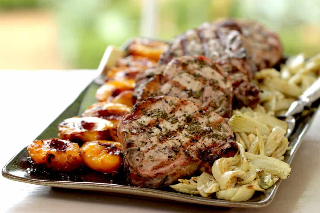 Grilled Pork Chops with Nectarines and Roasted Fennel