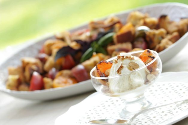 Grilled Panzanella Salad and Grilled Apricot Sundaes