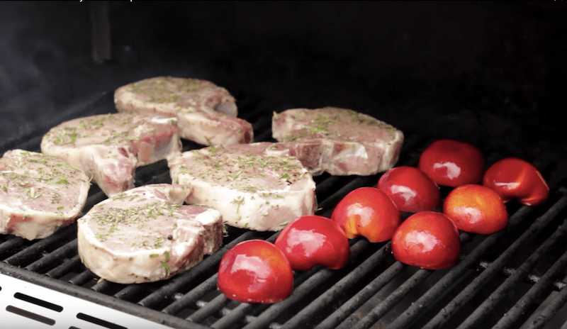 pork chops and nectarines on a grill for how to grill pork chops recipe