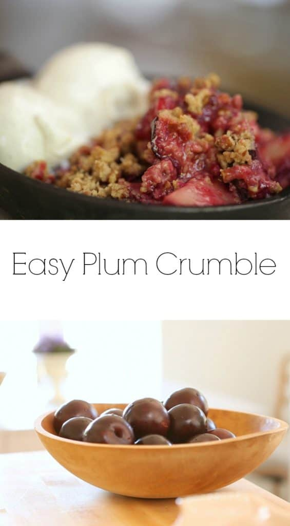 Easy Plum Crumble baked in a cast iron skillet served with a scoop of ice cream and a bowl of plums on wood surface