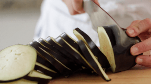 Slicing Eggplant for an Eggplant Lasagna Recipe