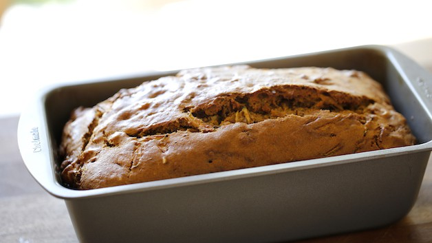 Zucchini Bread freshly baked in a loaf pan