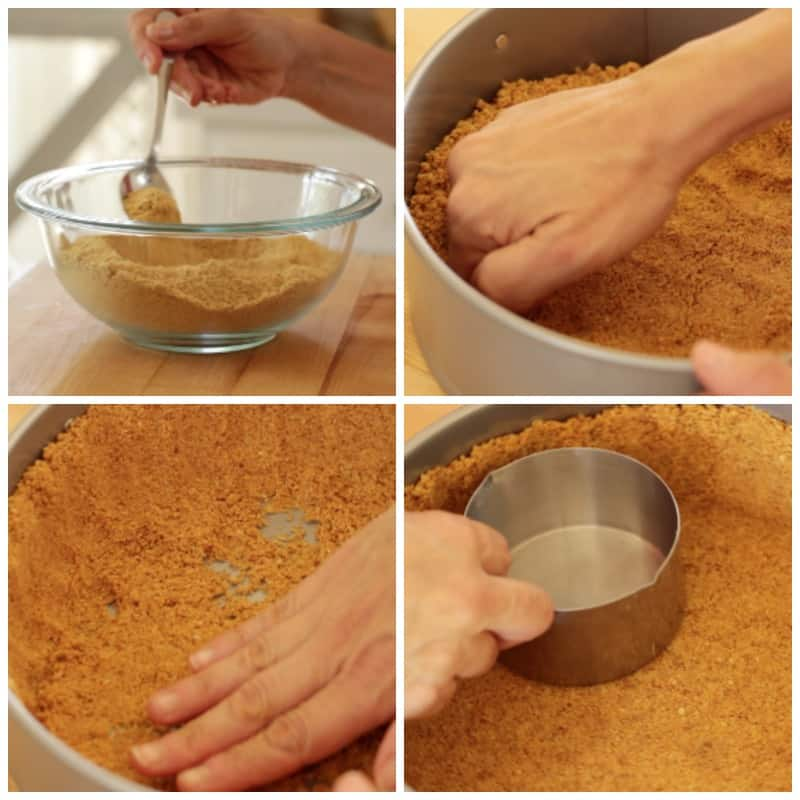 how to make a graham cracker crust steps from mixing in a bowl to pressing into a pan with a measuring cup for a no bake triple berry cheesecake recipe