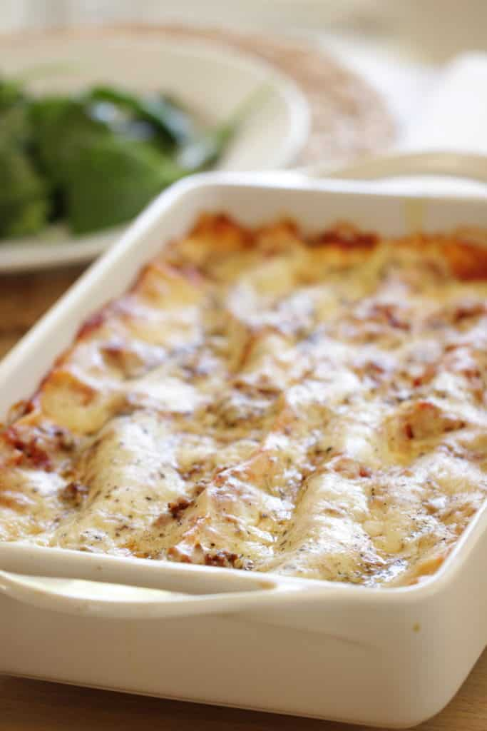 Homemade Lasagna in a white baking dish