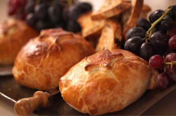 Baked Brie in Puff Pastry served with fresh grapes