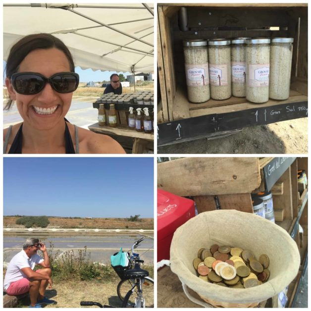 a collage of images from bike path selling salt in Ile de Re FRance