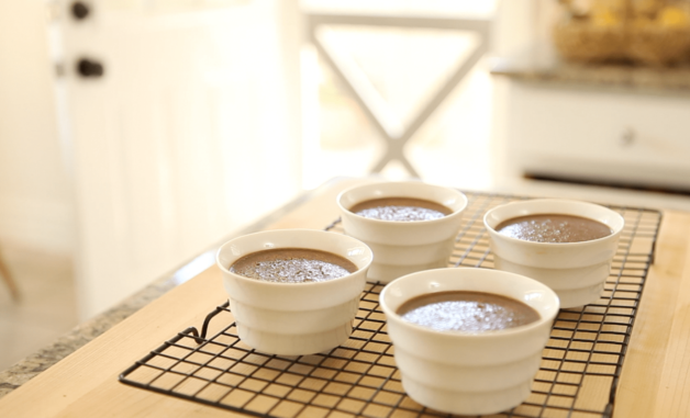 Baked Chocolate Pot de Creme Recipe cooling on rack