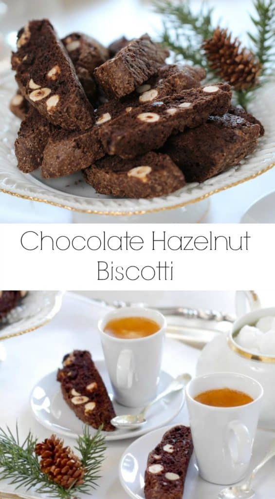 Chocolate Hazelnut Biscotti Recipe served on a white plate