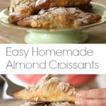Easy Almond Croissants piled high on a green cake plate
