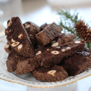 Chocolate Hazelnut Biscotti Recipe served on a white plate
